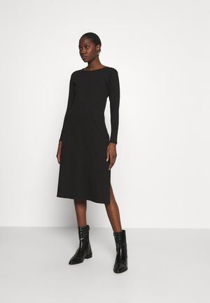 LONG SLEEVE SIDE SPLIT MIDI DRESS - Vestito di maglina - black