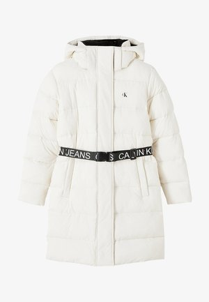 WAISTED LOGO LONG PUFFER - Winter coat - soft cream