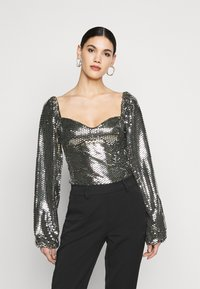 Missguided Tall - FOIL SEQUIN BODYSUIT - Blouse - black - 3