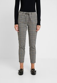 TOM TAILOR - CHECKED PANTS TAPE - Tracksuit bottoms - black/white/yellow/grey - 0