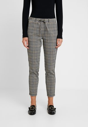 CHECKED PANTS TAPE - Teplákové kalhoty - black/white/yellow/grey