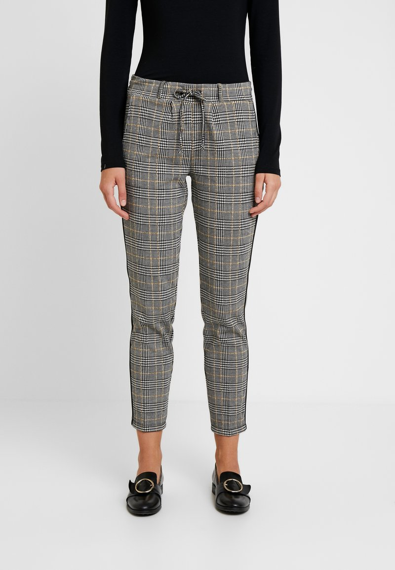TOM TAILOR - CHECKED PANTS TAPE - Tracksuit bottoms - black/white/yellow/grey