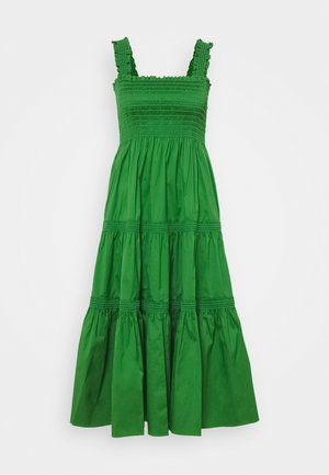 SMOCKED RUFFLE DRESS - Maxi-jurk - resort green