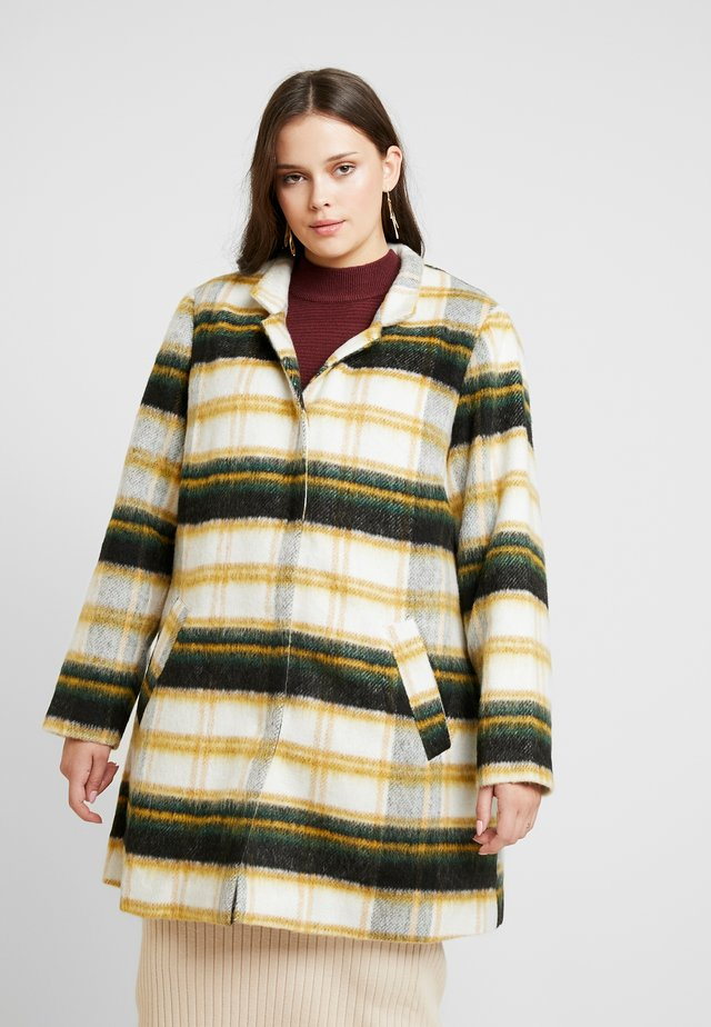 CHECKED COAT - Mantel - off-white/green/yellow