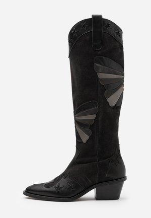 HOLLY KNEE HIGH BUTTERFLY - Cowboy/Biker boots - black