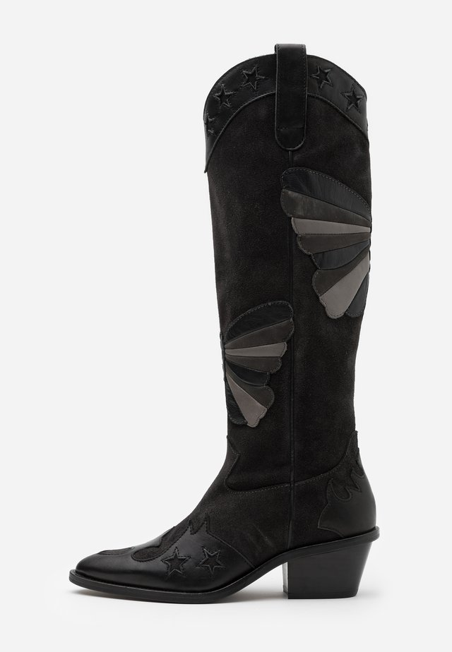 HOLLY KNEE HIGH BUTTERFLY - Cowboy/Biker boots - black