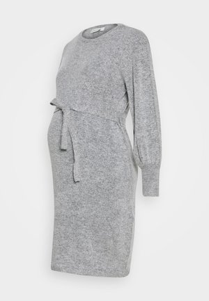 BLOUSON SLEEVE DRESS - Vestido de punto - marl grey