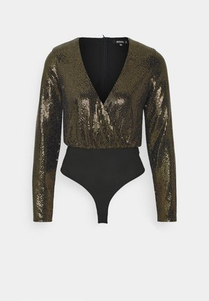 FOIL GLITTER WRAP BODYSUIT - Long sleeved top - bronze