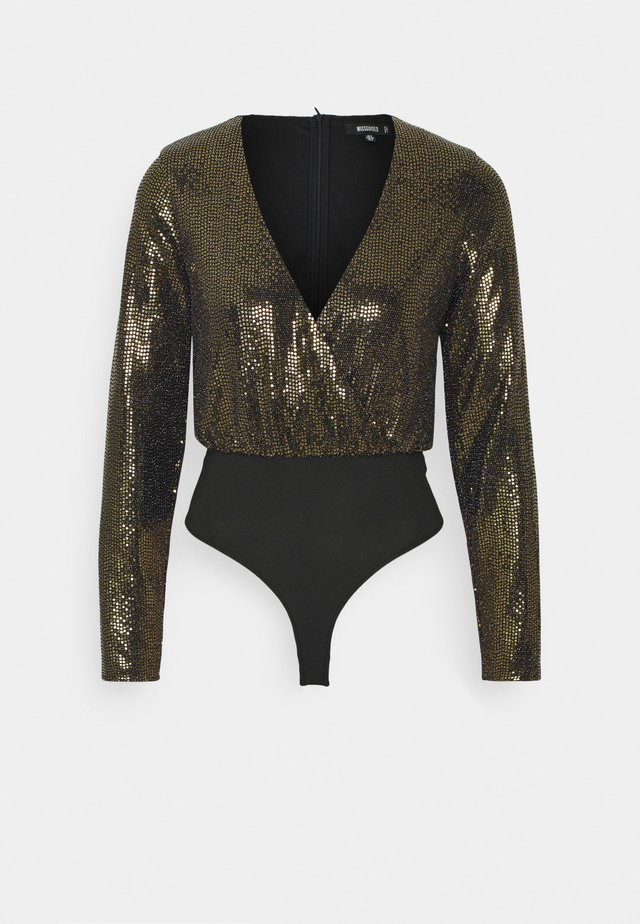FOIL GLITTER WRAP BODYSUIT - Long sleeved top - bronze