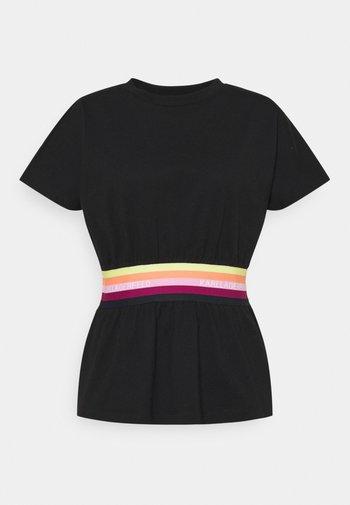 RIB INSERT  - Print T-shirt - black