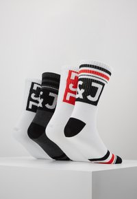 Jack & Jones - BLOCK LOGO TENNIS 4 PACK - Socks - dark grey melange/black/white/fiery red - 3