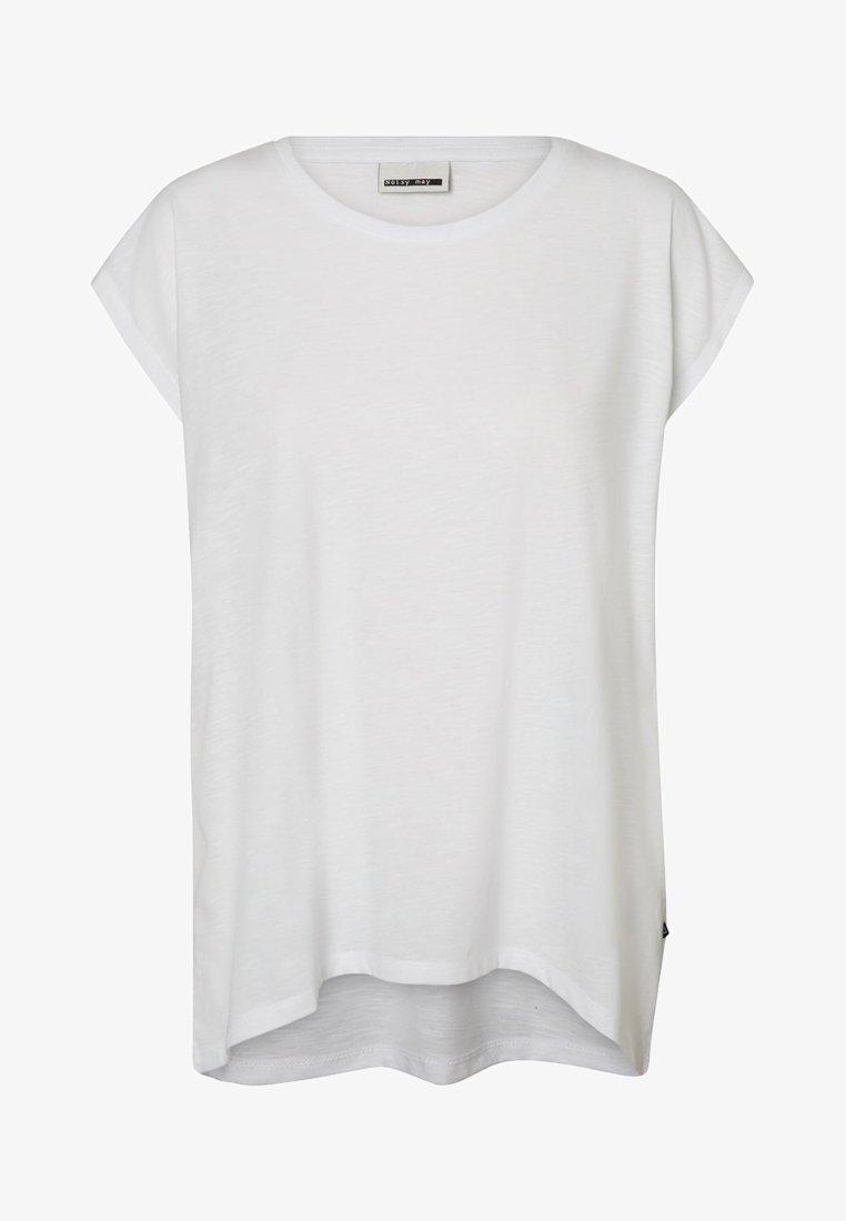 Noisy May - NMMATHILDE LOOSE LONG  - T-shirt basic - bright white