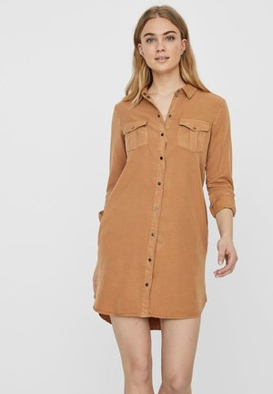 Denim dress - tobacco brown