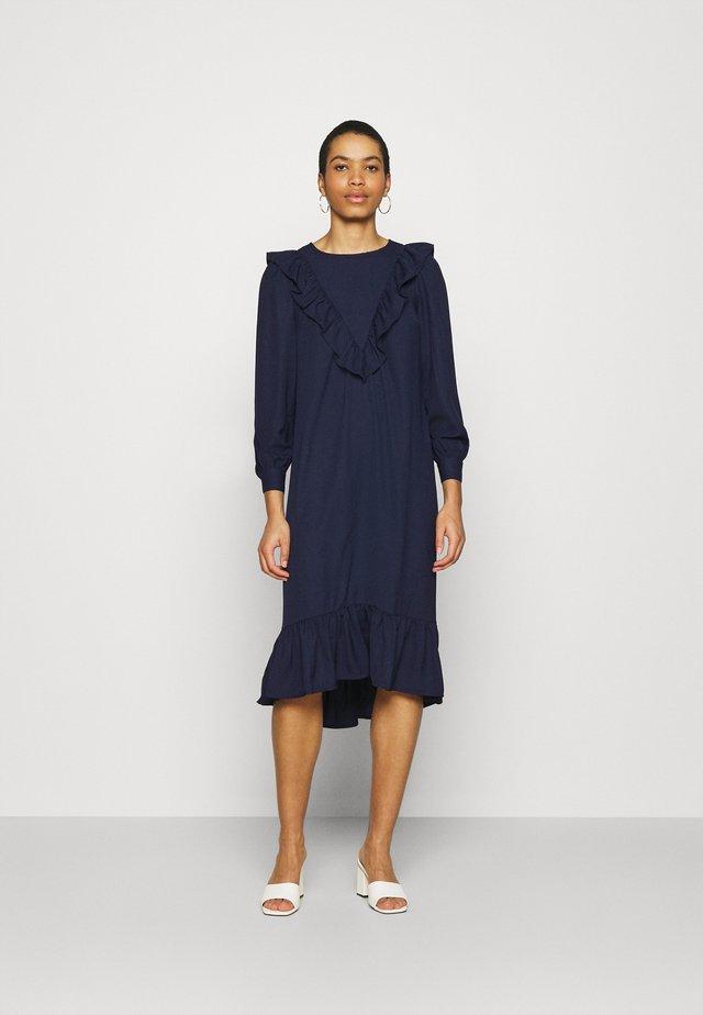 FRILL FRONT SMOCK DRESS - Sukienka letnia - navy