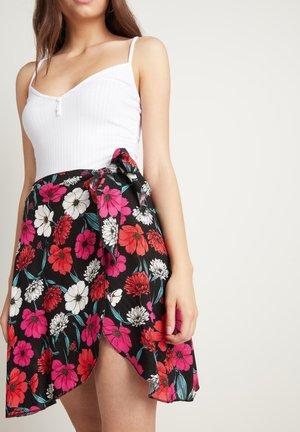 KURZER ROCK IN LEINWANDBINDUNG MIT SCHLITZ - A-line skirt - nero st.blossom pink