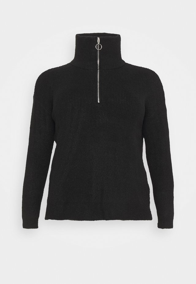 ZIP NECK JUMPER - Svetr - black