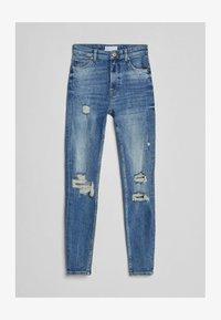 Bershka - SUPER HIGH WAIST - Jeans Skinny Fit - dark blue - 4
