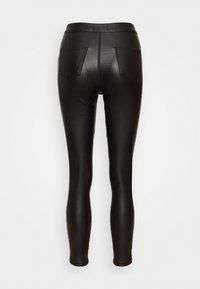 Missguided Petite - VICE DOUBLE POPPER COATED BIKER - Pantalones - black - 1