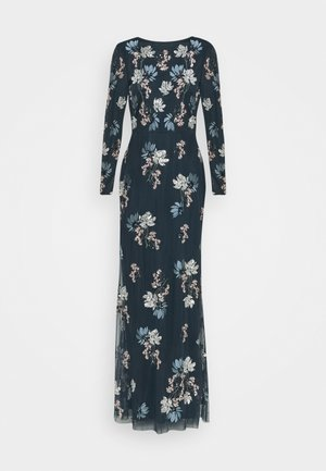 LONG SLEEVE FLORAL EMBROIDERED MAXI WITH OPEN BACK - Společenské šaty - navy