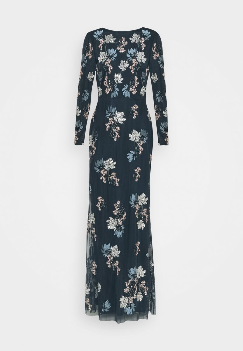 Maya Deluxe - LONG SLEEVE FLORAL EMBROIDERED MAXI WITH OPEN BACK - Společenské šaty - navy
