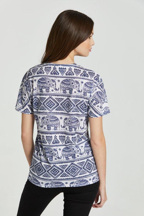 Mr. GUGU & Miss GO ELEPHANTS PATTERN - T-shirt z nadrukiem - white/biały Odzież Męska IMAV