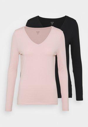 2 PACK - Long sleeved top - black/light pink