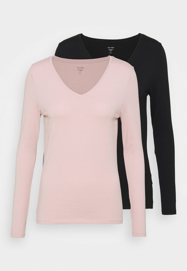 2 PACK - Longsleeve - black/light pink