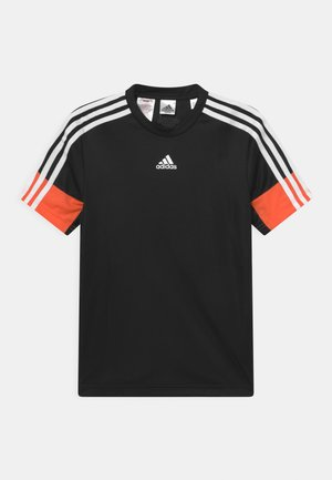 T-shirt print - black/orange