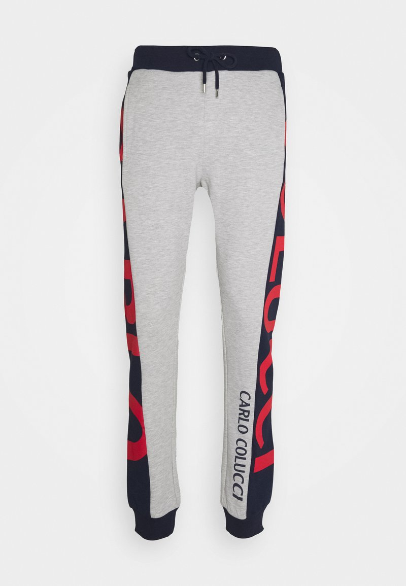 Carlo Colucci - SIDE TAPE LOGO - Tracksuit bottoms - grey/blue