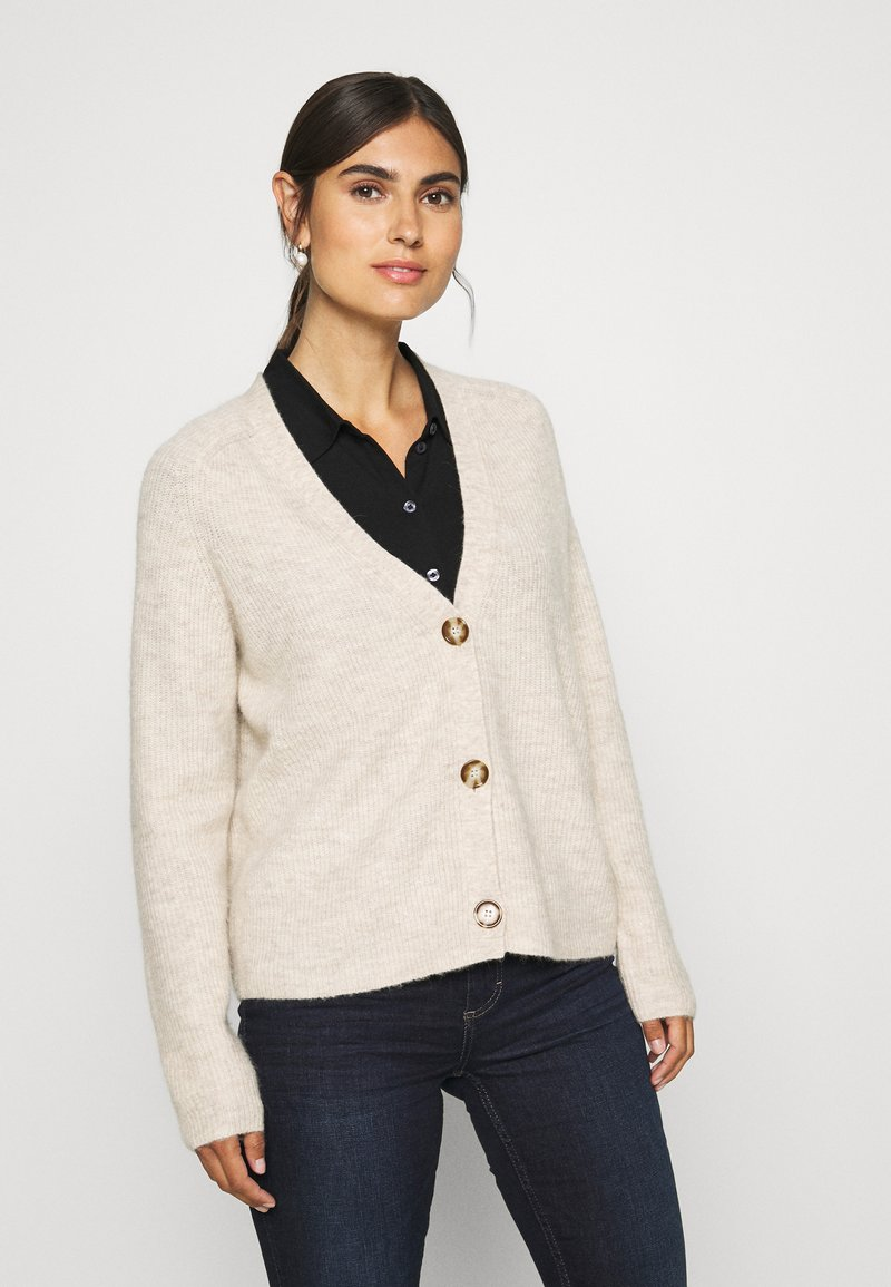 Marc O'Polo - CARDIGAN LONGSLEEVE SADDLE SHOULDER BUTTON CLOSURE - Cardigan - sandy melange