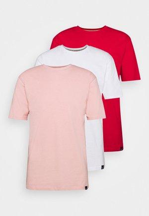 CORE 3 PACK - Jednoduché triko - powder pink/white/true red
