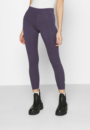 Legging - dark raisin/white