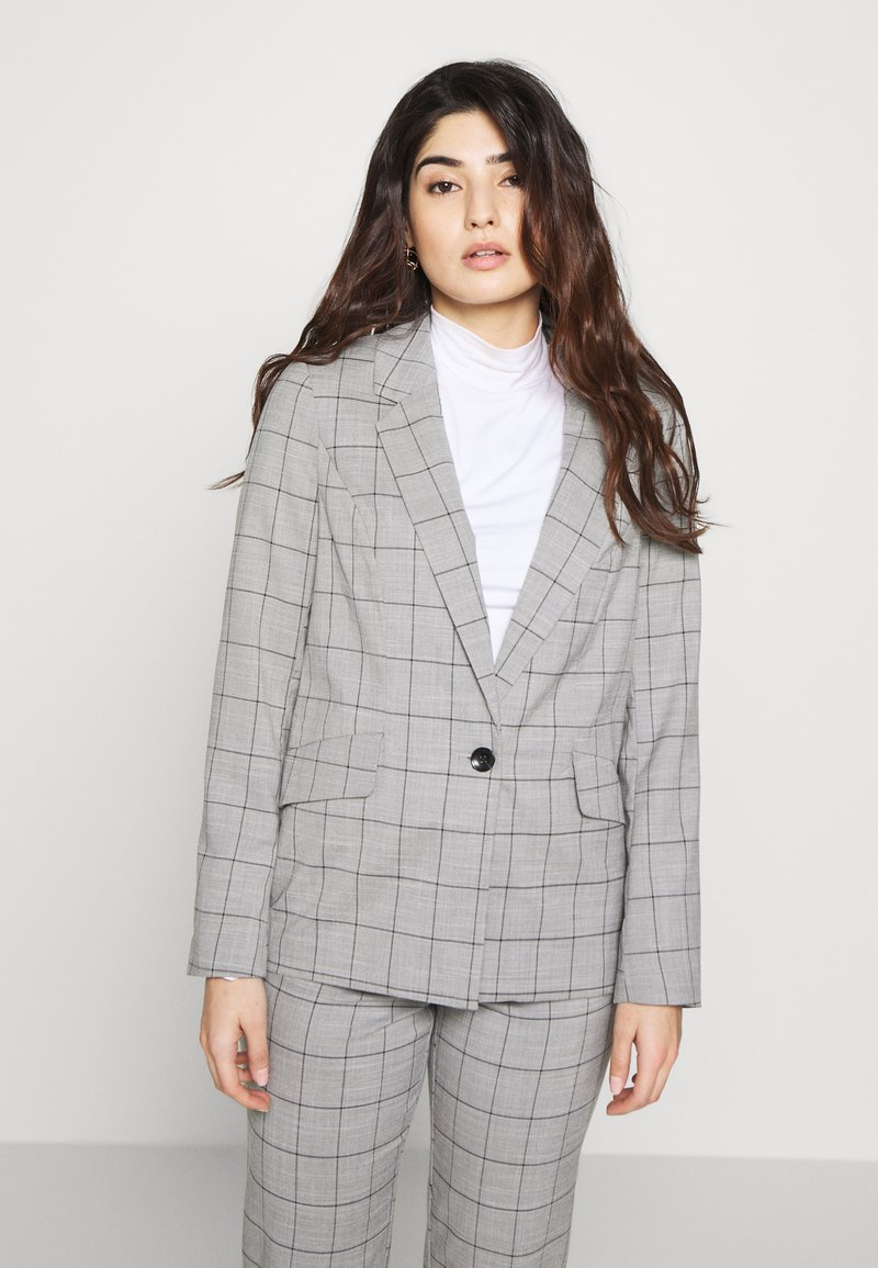 ONLY Petite - ONLCAROLINA CHECK - Blazer - light grey melange