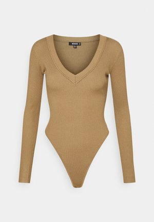 SKINNY V NECK - Long sleeved top - tan