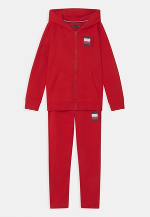 GLOBAL STRIPE ZIP SET - Tracksuit - red