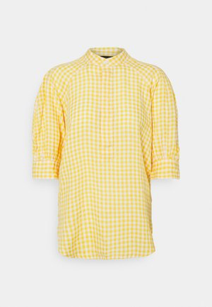 GINGHAM ELB SHIRT - Pusero - yellow/white