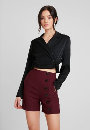 ROUCHED DETAIL TAILORED BLOUSE - Bluser - black