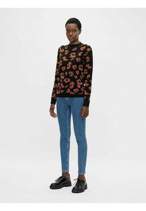 OBJANIA HARPER  - Slim fit jeans - dark blue denim