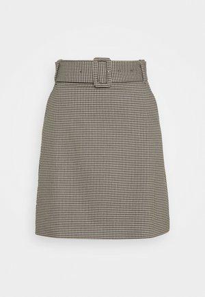 CHECK SKIRT - Mini skirt - beige