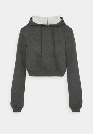 CROPPED HOODIE - Jersey con capucha - offblack mélange