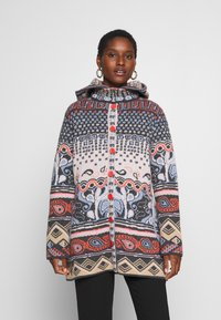 Ivko - JACKET GEOMETRIC PATTERN - Strikjakke /Cardigans - dark grey - 3