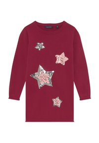 Blue Seven - KIDS SEQUIN STARS - Gebreide jurk - bordeaux - 3