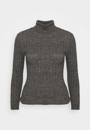 Wool blend- fitted roll neck - Strikpullover /Striktrøjer - mottled dark grey