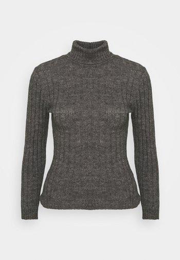 Wool blend- fitted roll neck - Svetr - mottled dark grey