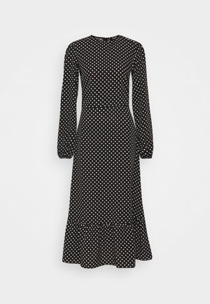 TIERED HEM MIDI DRESS POLKA - Sukienka letnia - black
