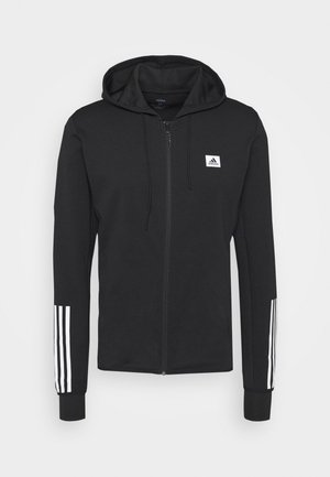 AEROREADY TRAINING SPORTS SLIM HOODED JACKET - Felpa aperta - black/white
