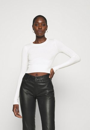 CROPPED RIB JUMPER  - Jersey de punto - off white