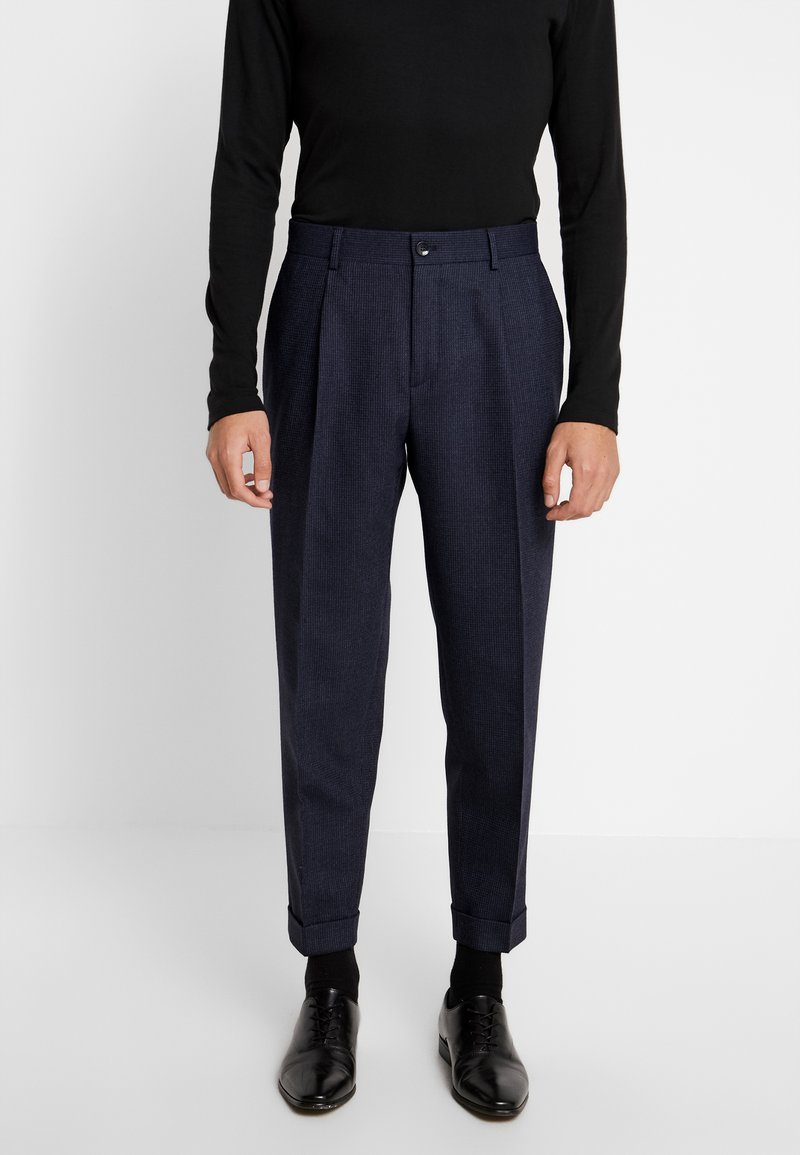 Calvin Klein Tailored - TEXTURED PLEATED PANT - Trousers - blue