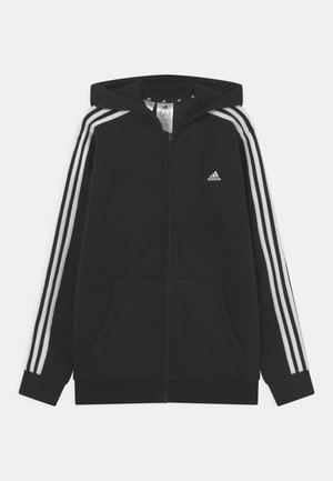 UNISEX - Sweat à capuche zippé - black/white
