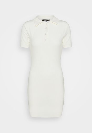 BUTTON PLACKET MINI DRESS - Shift dress - cream